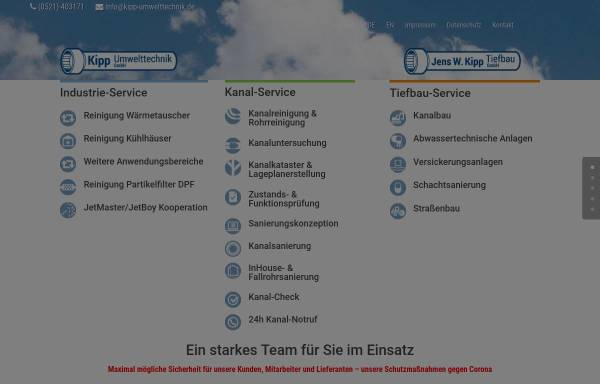 Vorschau von www.kipp-umwelttechnik.de, Kipp Umwelttechnik GmbH
