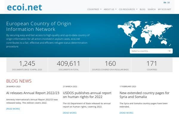 Vorschau von www.ecoi.net, ecoi.net (European Country of Origin Network)