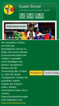 Vorschau der mobilen Webseite www.ecuador-discover.de, Ecuador Discover