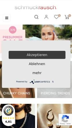 Vorschau der mobilen Webseite www.schmuckrausch.de, Schmuckrausch, Andreas Frikell