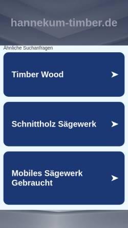 Vorschau der mobilen Webseite www.hannekum-timber.de, Hannekum Timber GmbH