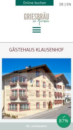 Vorschau der mobilen Webseite www.klausenhof-murnau.de, Klausenhof Hotel am Park