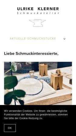 Vorschau der mobilen Webseite www.ulrike-klerner.de, Schmuckatelier Ulrike Klerner