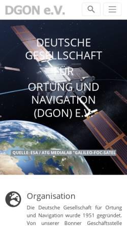Vorschau der mobilen Webseite www.dgon.de, Deutsche Gesellschaft für Ortung und Navigation e.V. (DGON)