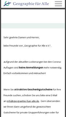 Vorschau der mobilen Webseite www.geographie-fuer-alle.de, Geographie für Alle