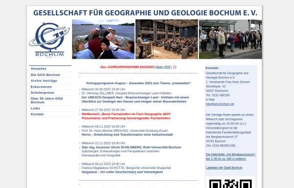 Vorschau von www.geo-bochum.de, Gesellschaft für Geographie und Geologie Bochum e.V.