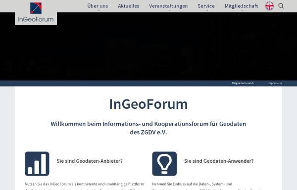 Vorschau von www.ingeoforum.de, Informations- und Kooperationsforum für Geodaten des ZGDV e.V.