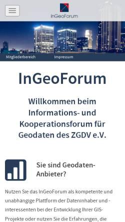 Vorschau der mobilen Webseite www.ingeoforum.de, Informations- und Kooperationsforum für Geodaten des ZGDV e.V.