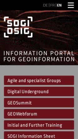 Vorschau der mobilen Webseite www.sogi.ch, Schweizerische Organisation für Geo-Information (SOGI OSIG)