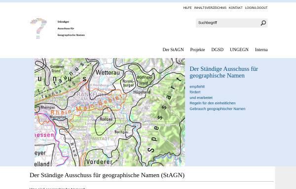 Vorschau von www.stagn.de, Ständiger Ausschuss für Geographische Namen (StAGN)