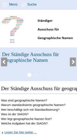 Vorschau der mobilen Webseite www.stagn.de, Ständiger Ausschuss für Geographische Namen (StAGN)