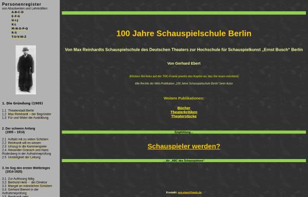 Vorschau von www.berliner-schauspielschule.de, 100 Jahre Schauspielschule Berlin