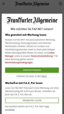 Vorschau der mobilen Webseite www.faz.net, Faz.net: Sein Name ist Brown, Dan Brown
