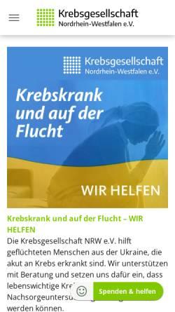 Vorschau der mobilen Webseite www.krebsgesellschaft-nrw.de, Krebsgesellschaft-NRW