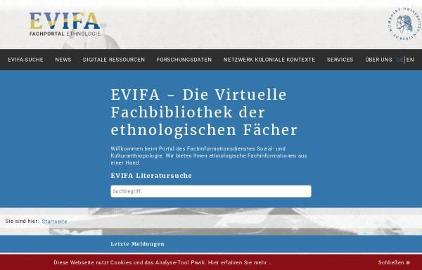 Vorschau von www.evifa.de, EVIFA - Virtuelle Fachbibliothek Ethnologie