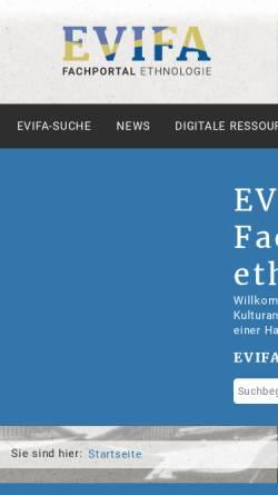 Vorschau der mobilen Webseite www.evifa.de, EVIFA - Virtuelle Fachbibliothek Ethnologie