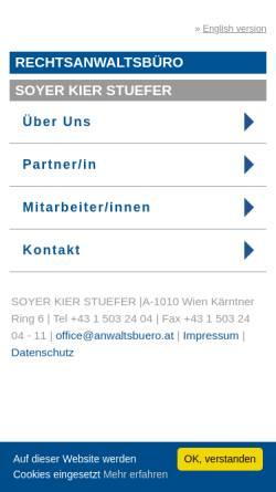 Vorschau der mobilen Webseite www.anwaltsbuero.at, Rechtsanwälte Embacher - Soyer & Bischof