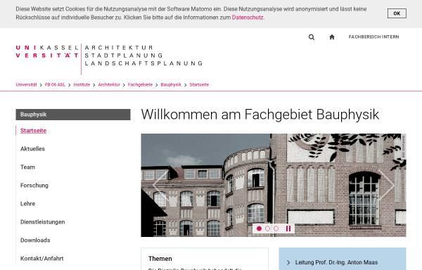 Vorschau von www.bpy.uni-kassel.de, Universität Kassel - Fachgebiet Bauphysik