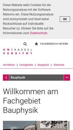 Vorschau der mobilen Webseite www.bpy.uni-kassel.de, Universität Kassel - Fachgebiet Bauphysik