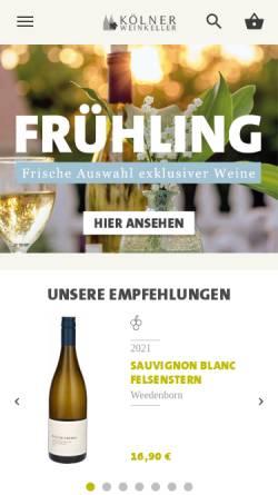 Vorschau der mobilen Webseite www.koelner-weinkeller.de, Kölner Weinkeller, REWE Group