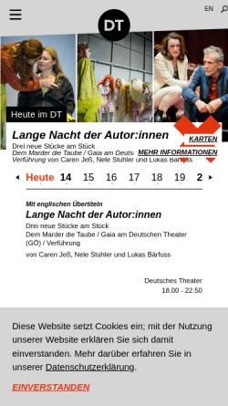 Vorschau der mobilen Webseite www.deutschestheater.de, Deutsches Theater