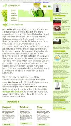 Vorschau der mobilen Webseite www.altravita.de, Altravita