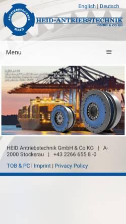 Vorschau der mobilen Webseite www.heid-antriebstechnik.at, Heid Antriebstechnik Produktion & Handel GmbH
