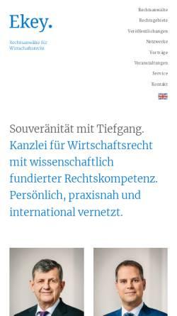 Vorschau der mobilen Webseite www.ekey.de, Ekey, Prof. Dr. & Kollegen