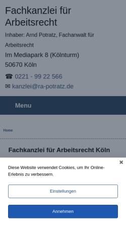 Vorschau der mobilen Webseite www.ra-potratz.de, Arnd Potratz