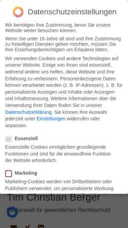 Vorschau der mobilen Webseite www.rechtsanwalt-koeln.eu, Rechtsanwalt Tim Berger