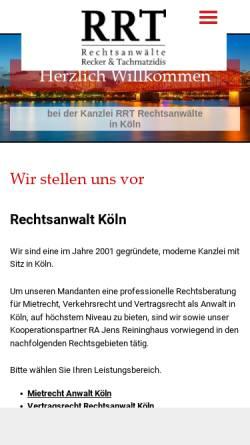 Vorschau der mobilen Webseite www.rrt-koeln.de, RRT Recker, Reininghaus & Tachmatzidis