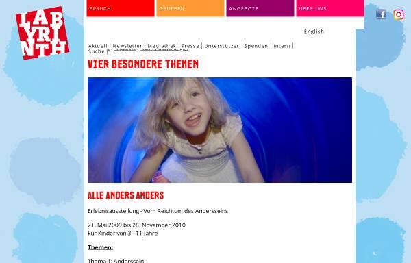 Vorschau von www.alle-anders-anders.de, Alle anders anders im Labyrinth Kindermuseum