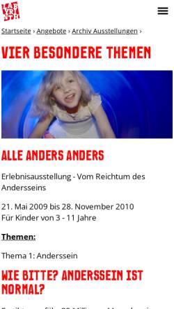 Vorschau der mobilen Webseite www.alle-anders-anders.de, Alle anders anders im Labyrinth Kindermuseum