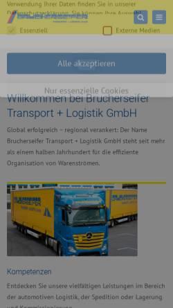 Vorschau der mobilen Webseite www.brucherseifer-sped.de, Brucherseifer Transport GmbH