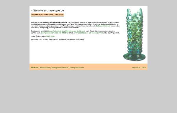 Vorschau von www.mittelalterarchaeologie.de, Mittelalterarchaeologie.de