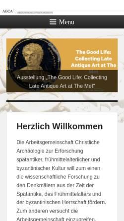 Vorschau der mobilen Webseite www.agca.de, Arbeitsgemeinschaft Christliche Archäologie