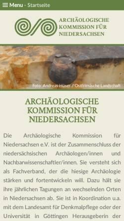 Vorschau der mobilen Webseite www.ak-niedersachsen.de, Archäologische Kommission für Niedersachsen e.V.