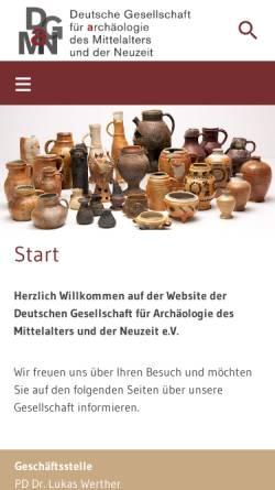 Vorschau der mobilen Webseite www.dgamn.de, Deutsche Gesellschaft für Archäologie des Mittelalters und der Neuzeit e.V.