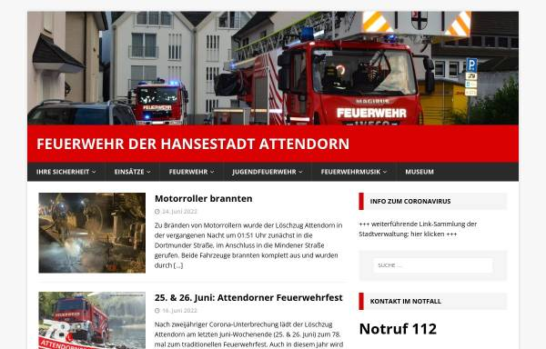Vorschau von www.feuerwehr-attendorn.de, Freiwillige Feuerwehr Attendorn