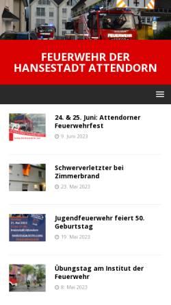 Vorschau der mobilen Webseite www.feuerwehr-attendorn.de, Freiwillige Feuerwehr Attendorn