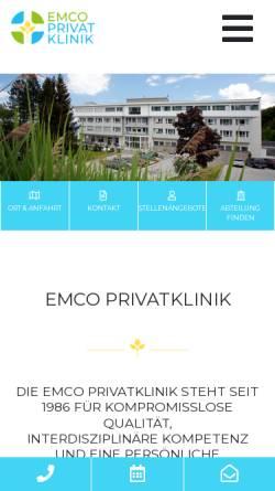 Vorschau der mobilen Webseite www.emco-klinik.at, Emco Privatklinik Bad Dürrnberg