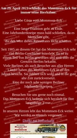 Vorschau der mobilen Webseite www.mommsen-eck.de, Mommsen Eck - Haus der 100 Biere