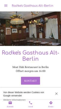 Vorschau der mobilen Webseite radkes-gasthaus-alt-berlin.business.site, Radke's Gasthaus Alt-Berlin