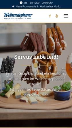 Vorschau der mobilen Webseite www.weihenstephaner-berlin.de, Weihenstephaner Berlin