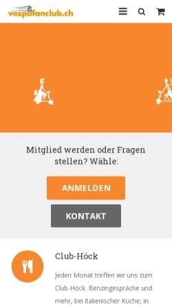 Vorschau der mobilen Webseite www.vespafanclub.ch, Vespa Fan Club