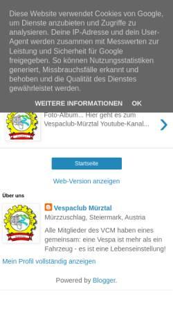 Vorschau der mobilen Webseite vcmuerztal.blogspot.co.at, Vespa-Club Mürztal