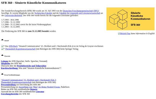 Vorschau von www.sfb360.uni-bielefeld.de, Situierte Künstliche Kommunikatoren (SFB 360)