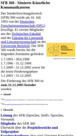 Vorschau der mobilen Webseite www.sfb360.uni-bielefeld.de, Situierte Künstliche Kommunikatoren (SFB 360)