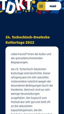 Vorschau der mobilen Webseite www.tschechische-kulturtage.de, Tschechische Kulturtage