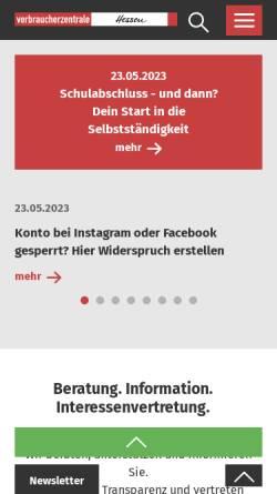 Vorschau der mobilen Webseite www.verbraucher.de, Verbraucher-Zentrale Hessen